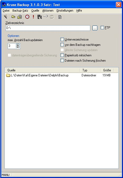 Click to view Kruse Backup 3.1 screenshot